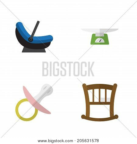 Flat Icon Baby Set Of Nipple, Children Scales, Infant Cot And Other Vector Objects