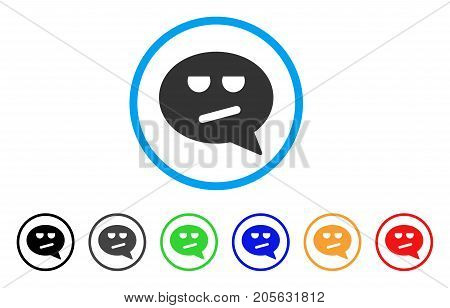 Bored Smiley Message icon. Vector illustration style is a flat iconic bored smiley message symbol with black, gray, green, blue, red, orange color variants. Designed for web and software interfaces.
