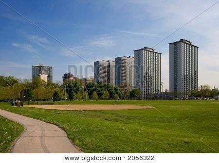 Apartment Buildings & Park