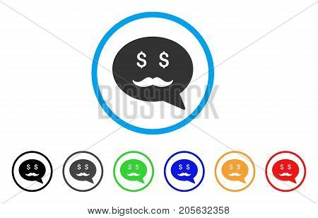 Investor Smiley Message icon. Vector illustration style is a flat iconic investor smiley message symbol with black, grey, green, blue, red, orange color variants.