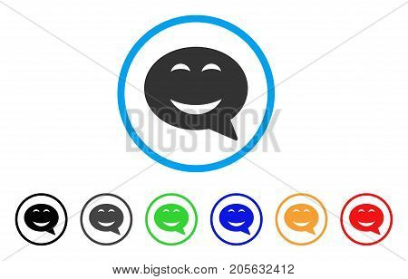 Joy Smiley Message icon. Vector illustration style is a flat iconic joy smiley message symbol with black, gray, green, blue, red, orange color variants. Designed for web and software interfaces.