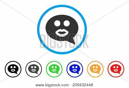 Kiss Smiley Message icon. Vector illustration style is a flat iconic kiss smiley message symbol with black, grey, green, blue, red, orange color versions. Designed for web and software interfaces.