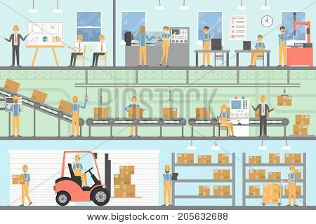 Factory interior set. People working with assembly line.
