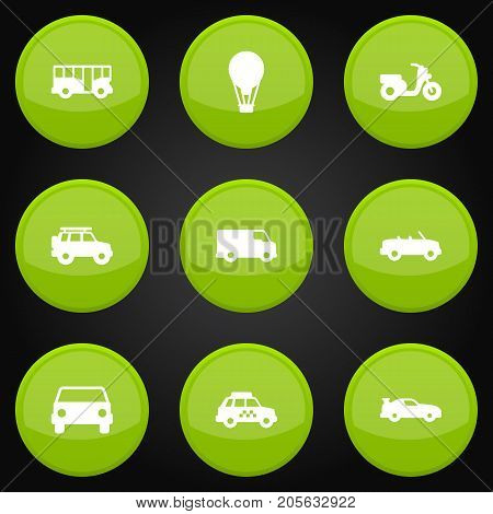 Collection Of Autobus, Scooter, Taxicab And Other Elements.  Set Of 9 Transport Icons Set.
