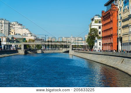 Moscow, Russia - September 24. 2017. Drainage channel and the Patriarchal bridge