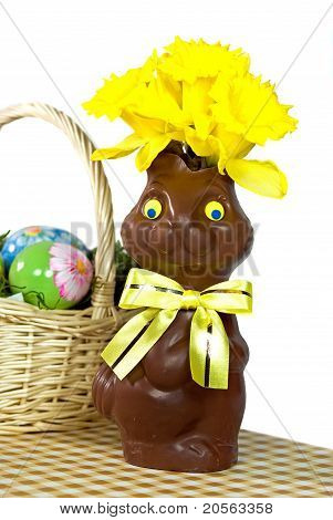 Daffodil and chocolate bunny