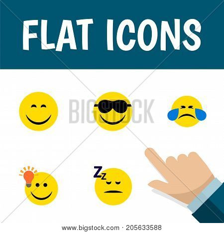 Flat Icon Face Set Of Cold Sweat, Happy, Have An Good Opinion And Other Vector Objects