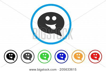 Tongue Smiley Message icon. Vector illustration style is a flat iconic tongue smiley message symbol with black, grey, green, blue, red, orange color variants. Designed for web and software interfaces.