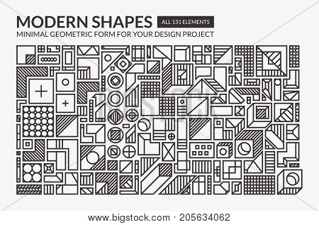 Minimal modern shapes with easy editable weight of stroke, you can change figures to your purpose. Minimalist geometric forms for your design project