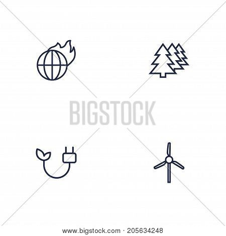 Collection Of Afforestation, Wind Turbine, Global Warming And Other Elements.  Set Of 4 Ecology Outline Icons Set.