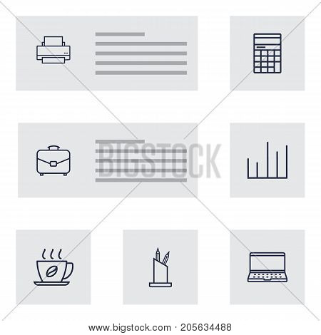 Collection Of Portfolio, Pen Storage, Notebook And Other Elements.  Set Of 7 Work Outline Icons Set.