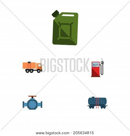 Flat Icon Petrol Set Of Van, Petrol, Container And Other Vector Objects