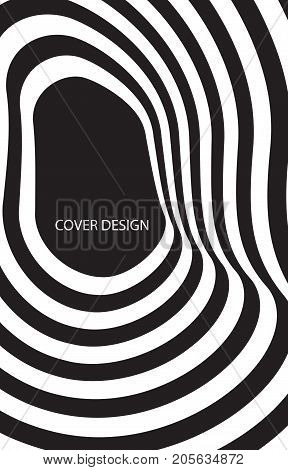 Abstract black and white optical illusion. Template for flyer cover notebook brochure book leaflet booklet card poster print. Vector illustration.