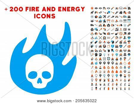 Hell Fire pictograph with bonus energy clip art. Vector illustration style is flat iconic symbols for web design, application user interface.