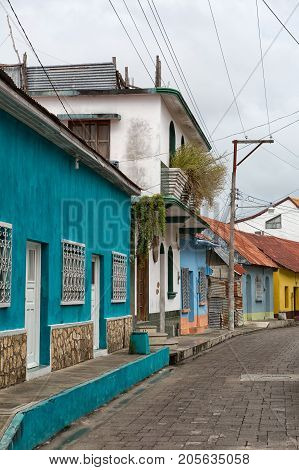 January 11, 2015 Flores, Guatemala: Colourful Colonial Architecture On The Small Tourist Destination