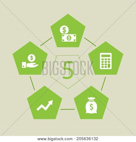Collection Of Calculate, Grown, Money And Other Elements.  Set Of 5 Finance Icons Set.