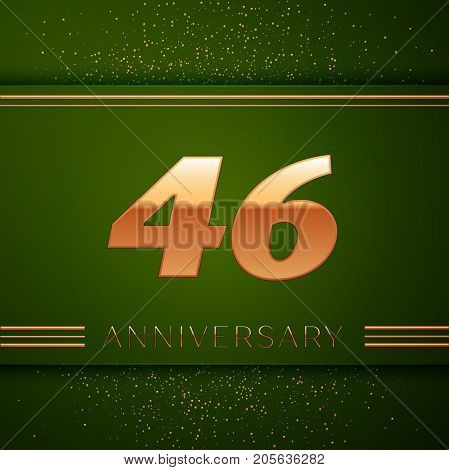 Realistic Forty six Years Anniversary Celebration Logotype. Golden numbers and golden confetti on green background. Colorful Vector template elements for your birthday party