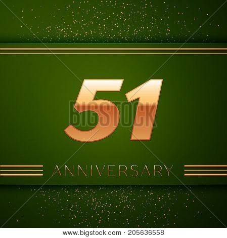 Realistic Fifty one Years Anniversary Celebration Logotype. Golden numbers and golden confetti on green background. Colorful Vector template elements for your birthday party