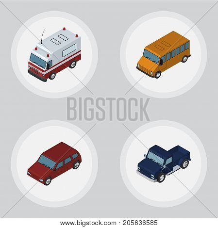 Isometric Automobile Set Of Autobus, First-Aid, Suv And Other Vector Objects