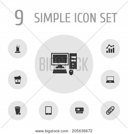 Collection Of Palmtop, Videoconference, Cappuccino And Other Elements.  Set Of 9 Cabinet Icons Set.