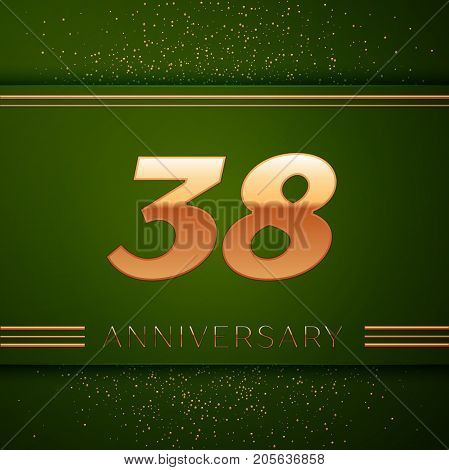 Realistic Thirty eight Years Anniversary Celebration Logotype. Golden numbers and golden confetti on green background. Colorful Vector template elements for your birthday party