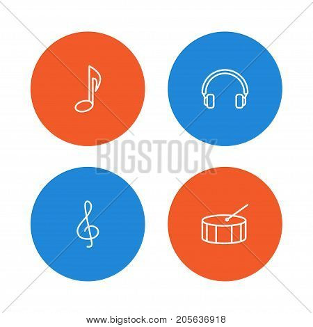 Collection Of Headphones, Note, Percussion And Other Elements.  Set Of 4 Melody Outline Icons Set.