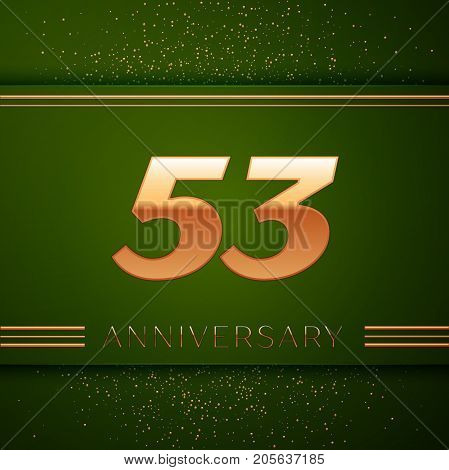 Realistic Fifty three Years Anniversary Celebration Logotype. Golden numbers and golden confetti on green background. Colorful Vector template elements for your birthday party