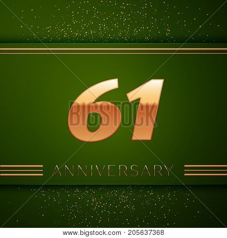 Realistic Sixty one Years Anniversary Celebration Logotype. Golden numbers and golden confetti on green background. Colorful Vector template elements for your birthday party