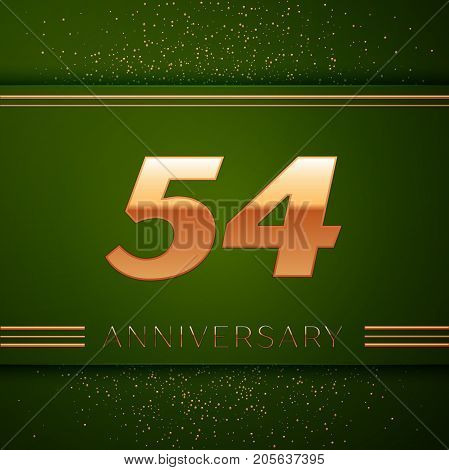 Realistic Fifty four Years Anniversary Celebration Logotype. Golden numbers and golden confetti on green background. Colorful Vector template elements for your birthday party