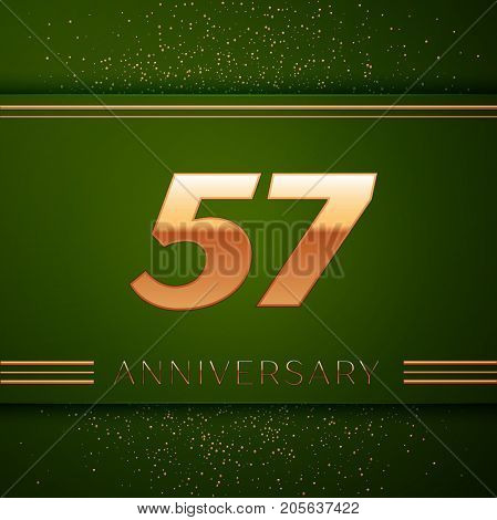 Realistic Fifty seven Years Anniversary Celebration Logotype. Golden numbers and golden confetti on green background. Colorful Vector template elements for your birthday party