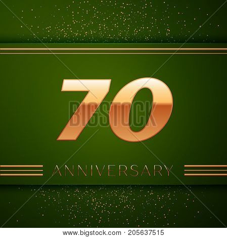 Realistic Seventy Years Anniversary Celebration Logotype. Golden numbers and golden confetti on green background. Colorful Vector template elements for your birthday party