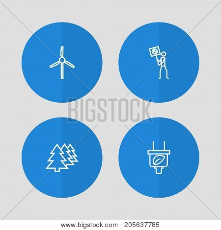 Collection Of Wind Turbine, Afforestation, Ecologist And Other Elements.  Set Of 4 Ecology Outline Icons Set.