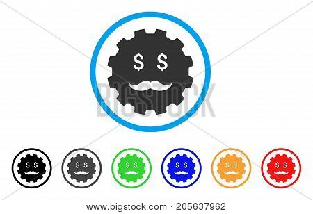 Investor Smiley Gear icon. Vector illustration style is a flat iconic investor smiley gear symbol with black, grey, green, blue, red, orange color additional versions.