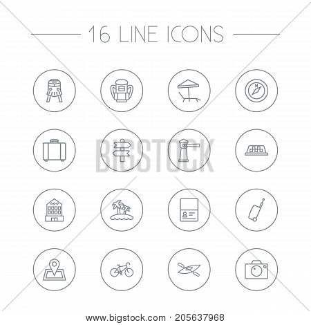 Collection Of Bike, Suitcase, Photo And Other Elements.  Set Of 16 Travel Outline Icons Set.