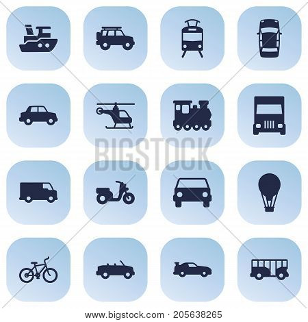 Collection Of Caravan, Scooter, Autobus And Other Elements.  Set Of 16 Transport Icons Set.
