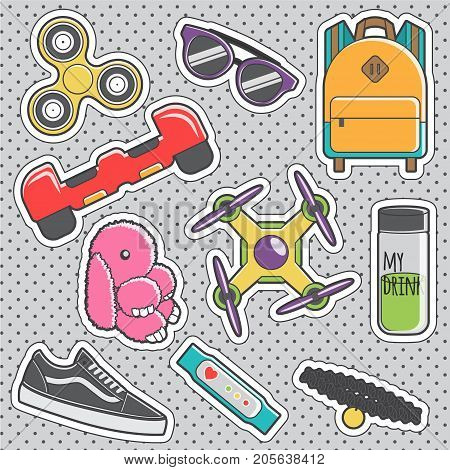 Set of fun trendy vintage sticker fashion badges with teenager fashion hype accessories. Vector illustrations for iron on patches, transfer tottoos, sew on chevron.