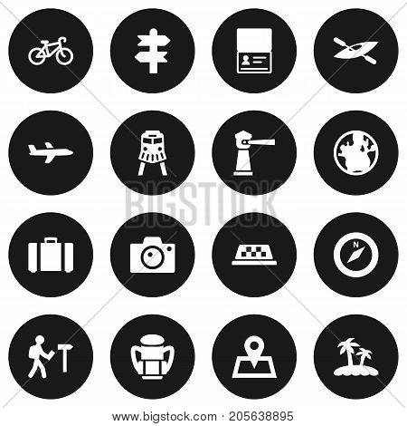 Collection Of Suitcase, Seamark, Palm And Other Elements.  Set Of 16 Journey Icons Set.