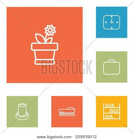 Collection Of Staple, Bookshelf, Wall Clock And Other Elements.  Set Of 6 Bureau Outline Icons Set.