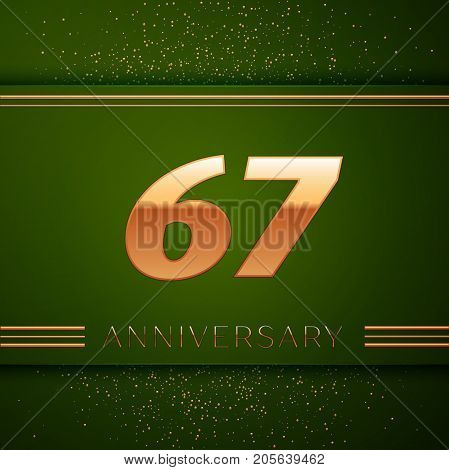 Realistic Sixty seven Years Anniversary Celebration Logotype. Golden numbers and golden confetti on green background. Colorful Vector template elements for your birthday party