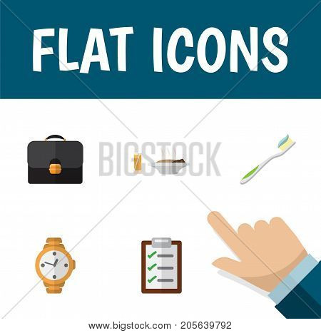 Flat Icon Life Set Of Questionnaire, Briefcase, Timer And Other Vector Objects