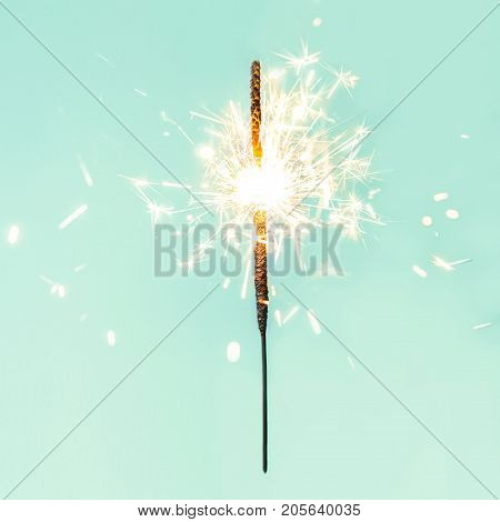 Festive Merry Christmas sparklers. Golden Magic lights for holiday poster birthday or party concept. Sparkling beautiful sparkles or bengal lights
