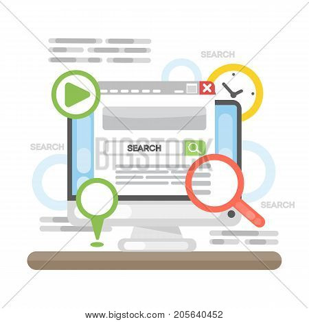 Search concept illustration. Idea of seo, browsing and research.