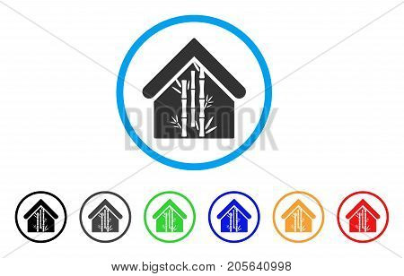 Bamboo House rounded icon. Style is a flat bamboo house gray symbol inside light blue circle with black, gray, green, blue, red, orange versions. Vector designed for web and software interfaces.