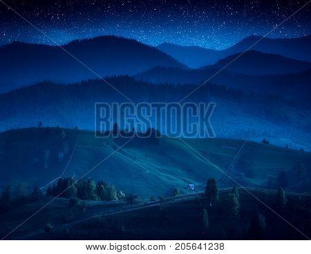 Carpathian Village Misty Hills In A Moonlight