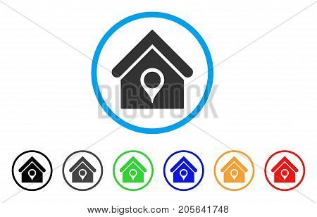 House Location rounded icon. Style is a flat house location gray symbol inside light blue circle with black, gray, green, blue, red, orange color versions.