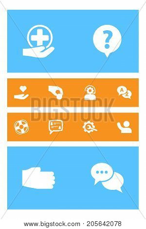 Collection Of Support, Translate, Undertake And Other Elements.  Set Of 12 Maintenance Icons Set.