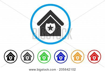 Realty Protection rounded icon. Style is a flat realty protection grey symbol inside light blue circle with black, gray, green, blue, red, orange color versions.