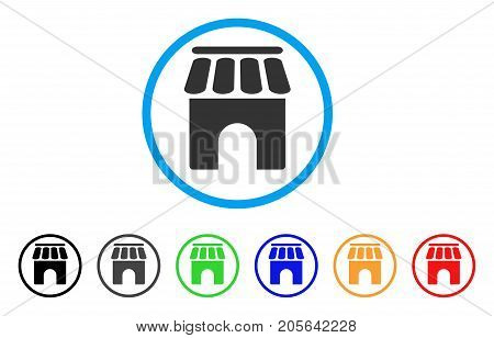 Shop Building rounded icon. Style is a flat shop building gray symbol inside light blue circle with black, gray, green, blue, red, orange variants. Vector designed for web and software interfaces.