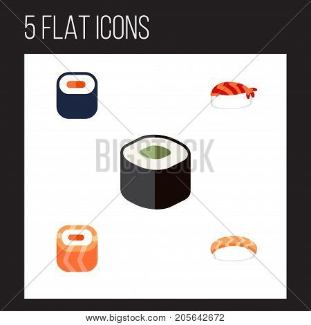 Flat Icon Sashimi Set Of Gourmet, Seafood, Maki And Other Vector Objects