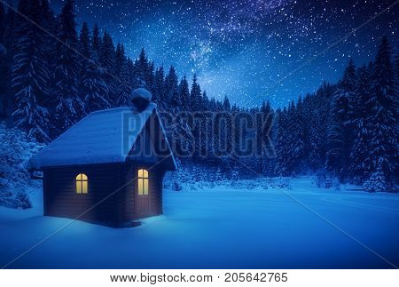 Lonely Wooden House On A Meadow In A Deep Forest